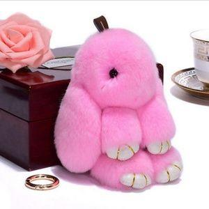 Pink Fluffy Bunny Keyring